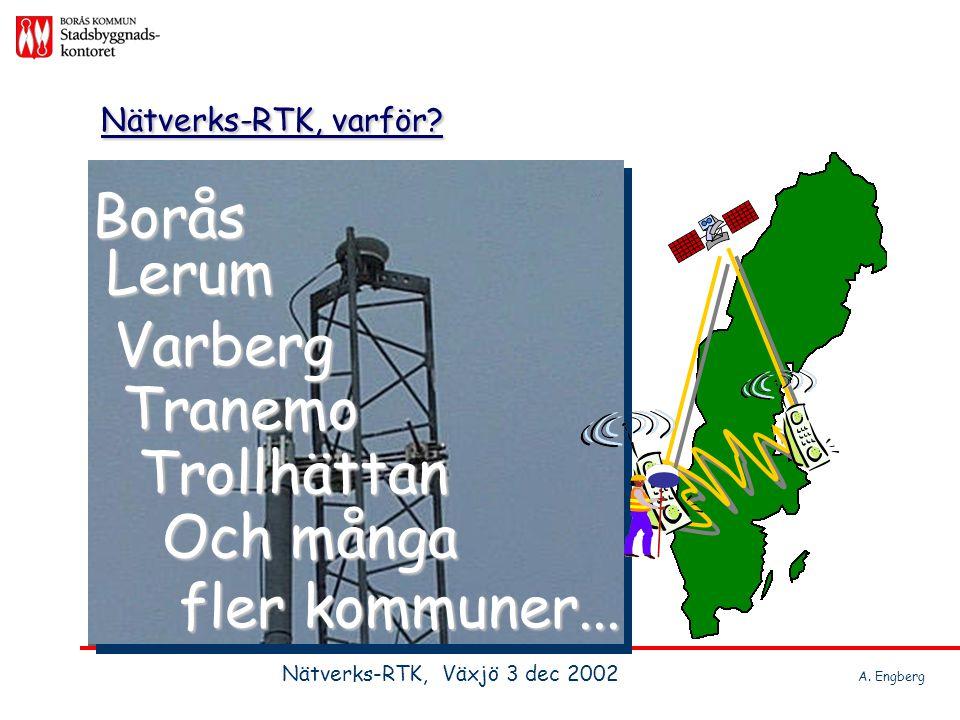 Behöver vi GPS? RTK-mätning? Nätverks-RTK, Västsverige Nätverks-RTK, Växjö 3 dec 2002 A. Engberg