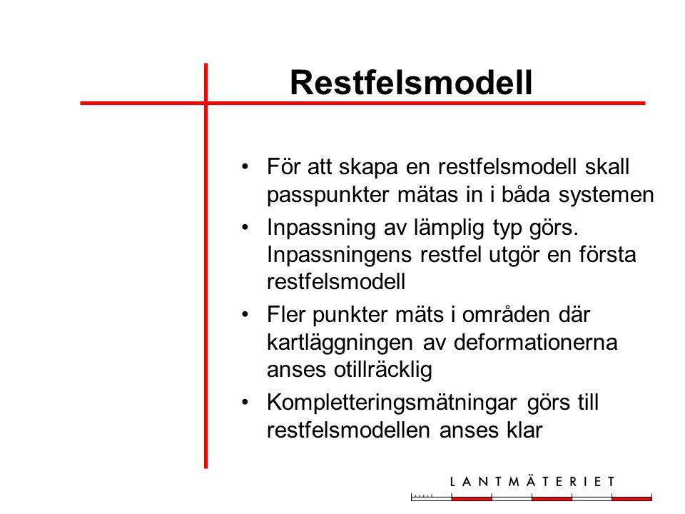 Restfelsmodell För att skapa en restfelsmodell skall passpunkter mätas in i båda systemen Inpassning av lämplig typ görs. Inpassningens restfel utgör