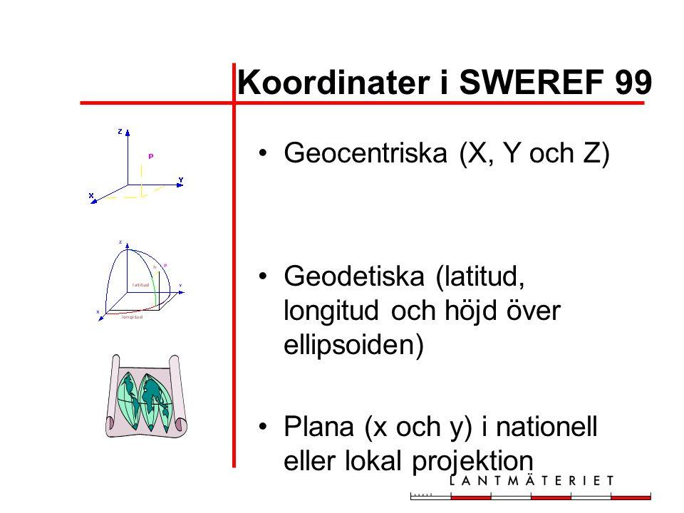 Koordinater i SWEREF 99 Geocentriska (X, Y och Z) Geodetiska (latitud, longitud och höjd över ellipsoiden) Plana (x och y) i nationell eller lokal pro