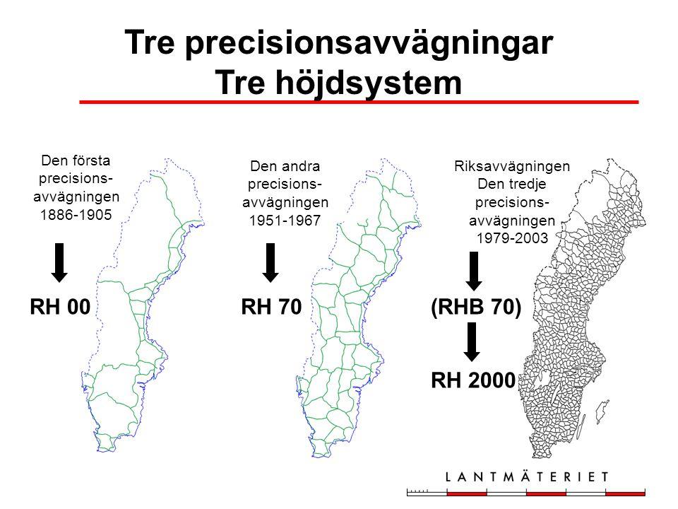 Den andra precisions- avvägningen 1951-1967 Riksavvägningen Den tredje precisions- avvägningen 1979-2003 Den första precisions- avvägningen 1886-1905