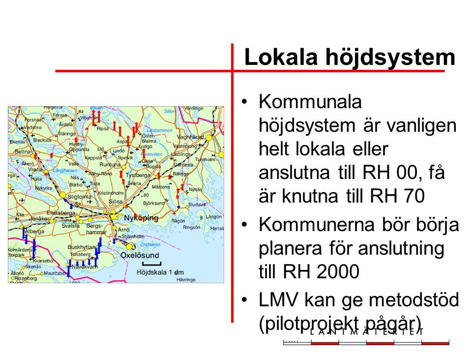 Kommunala höjdsystem är vanligen helt lokala eller anslutna till RH 00, få är knutna till RH 70 Kommunerna bör börja planera för anslutning till RH 20