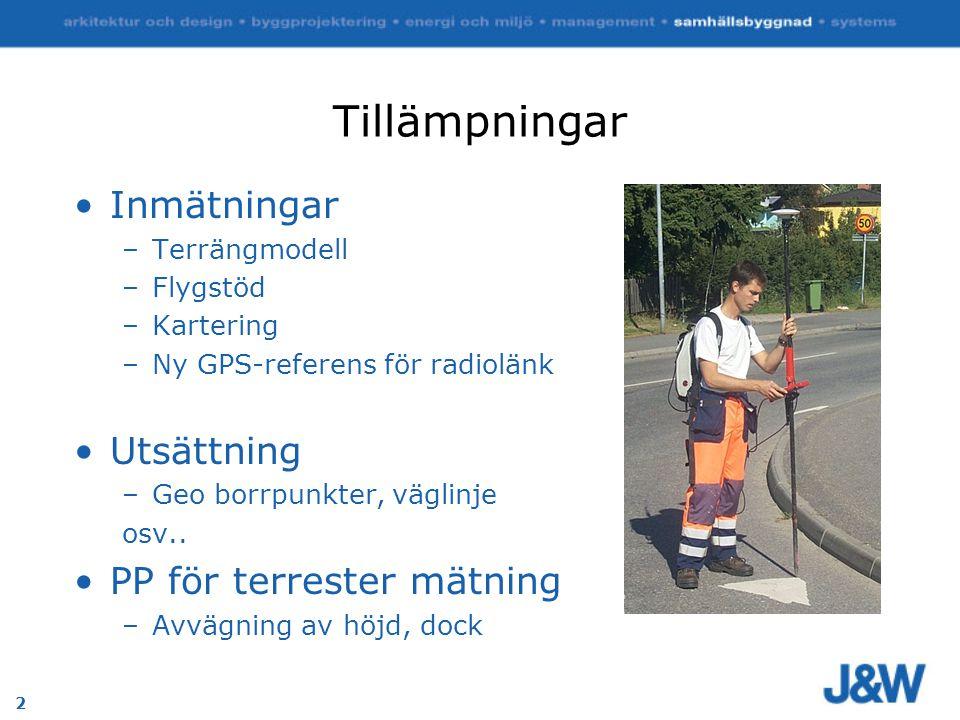 2 Tillämpningar Inmätningar –Terrängmodell –Flygstöd –Kartering –Ny GPS-referens för radiolänk Utsättning –Geo borrpunkter, väglinje osv..