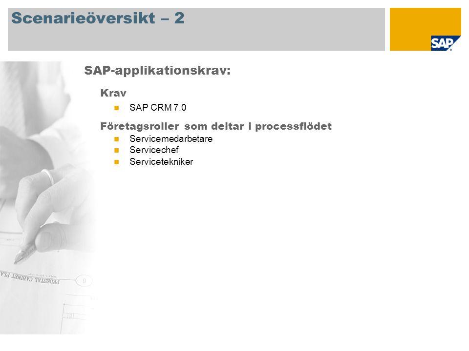Scenarieöversikt – 2 Krav SAP CRM 7.0 Företagsroller som deltar i processflödet Servicemedarbetare Servicechef Servicetekniker SAP-applikationskrav: