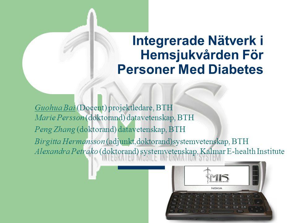 Integrerade Nätverk i Hemsjukvården För Personer Med Diabetes Guohua Bai (Docent) projektledare, BTH Marie Persson (doktorand) datavetenskap, BTH Peng