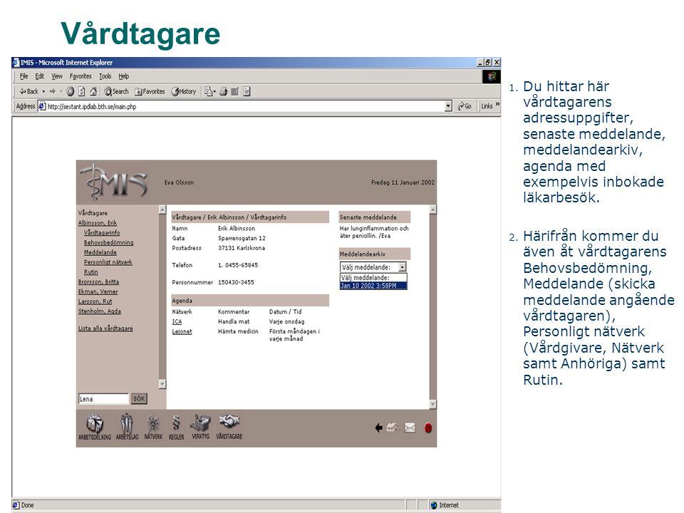 Vårdtagare 1. Du hittar här vårdtagarens adressuppgifter, senaste meddelande, meddelandearkiv, agenda med exempelvis inbokade läkarbesök. 2. Härifrån