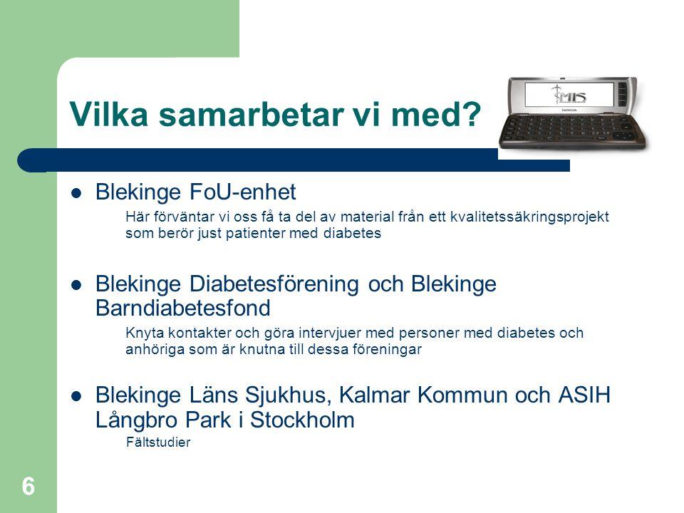 7 Relevanta Projekt MIV (Mobilitet i vården) OVK (Obruten Vårdkedja) PermitTo Care Mobile Care Tillit 3 MobS