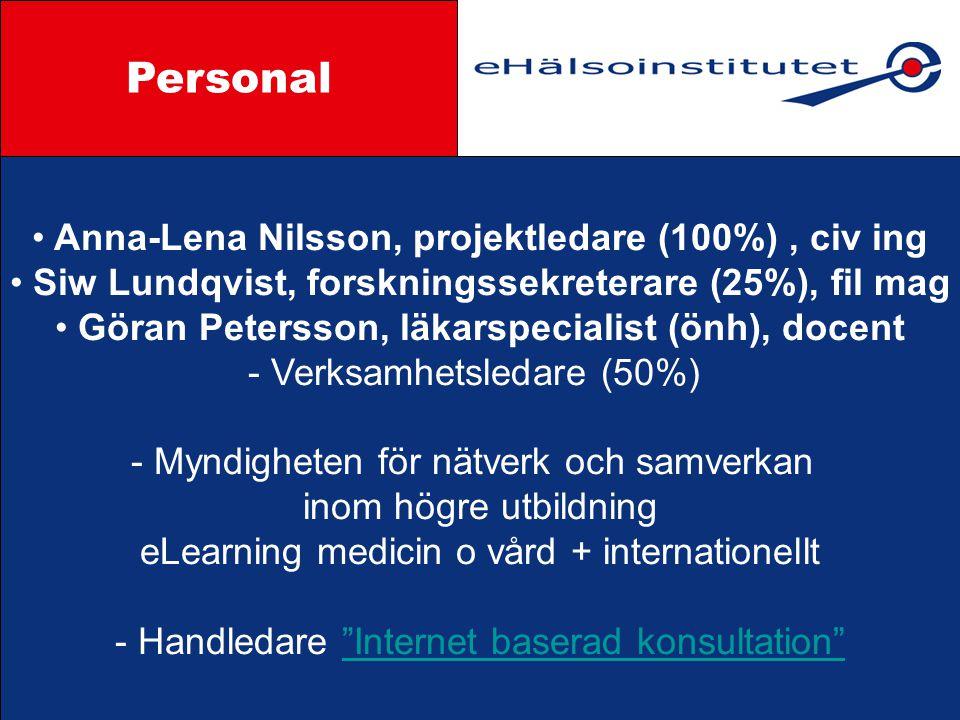Anna-Lena Nilsson, projektledare (100%), civ ing Siw Lundqvist, forskningssekreterare (25%), fil mag Göran Petersson, läkarspecialist (önh), docent - Verksamhetsledare (50%) - Myndigheten för nätverk och samverkan inom högre utbildning eLearning medicin o vård + internationellt - Handledare Internet baserad konsultation Internet baserad konsultation Styrgrupp Personal