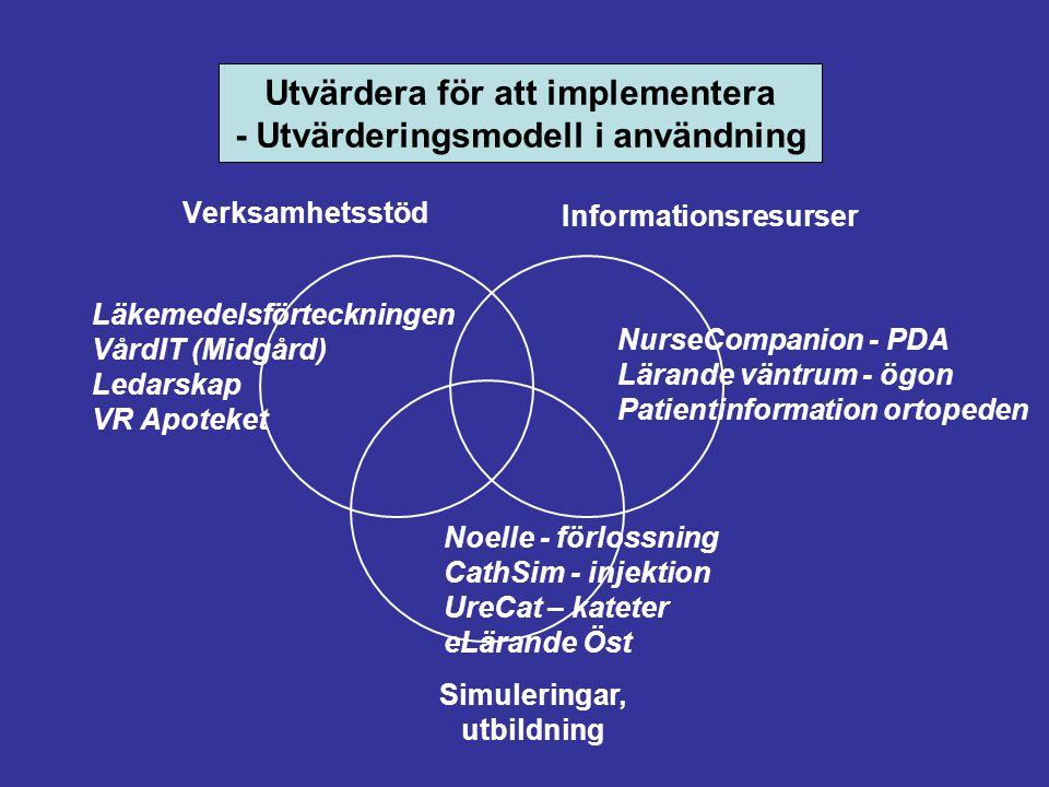 Verksamhetsstöd Informationsresurser Simuleringar, utbildning Läkemedelsförteckningen VårdIT (Midgård) Ledarskap VR Apoteket NurseCompanion - PDA Lärande väntrum - ögon Patientinformation ortopeden Noelle - förlossning CathSim - injektion UreCat – kateter eLärande Öst Utvärdera för att implementera - Utvärderingsmodell i användning
