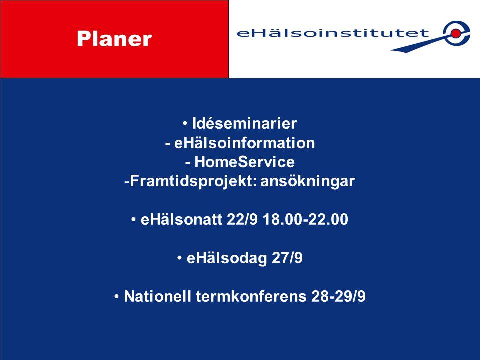 Idéseminarier - eHälsoinformation - HomeService -Framtidsprojekt: ansökningar eHälsonatt 22/9 18.00-22.00 eHälsodag 27/9 Nationell termkonferens 28-29/9 Styrgrupp Planer