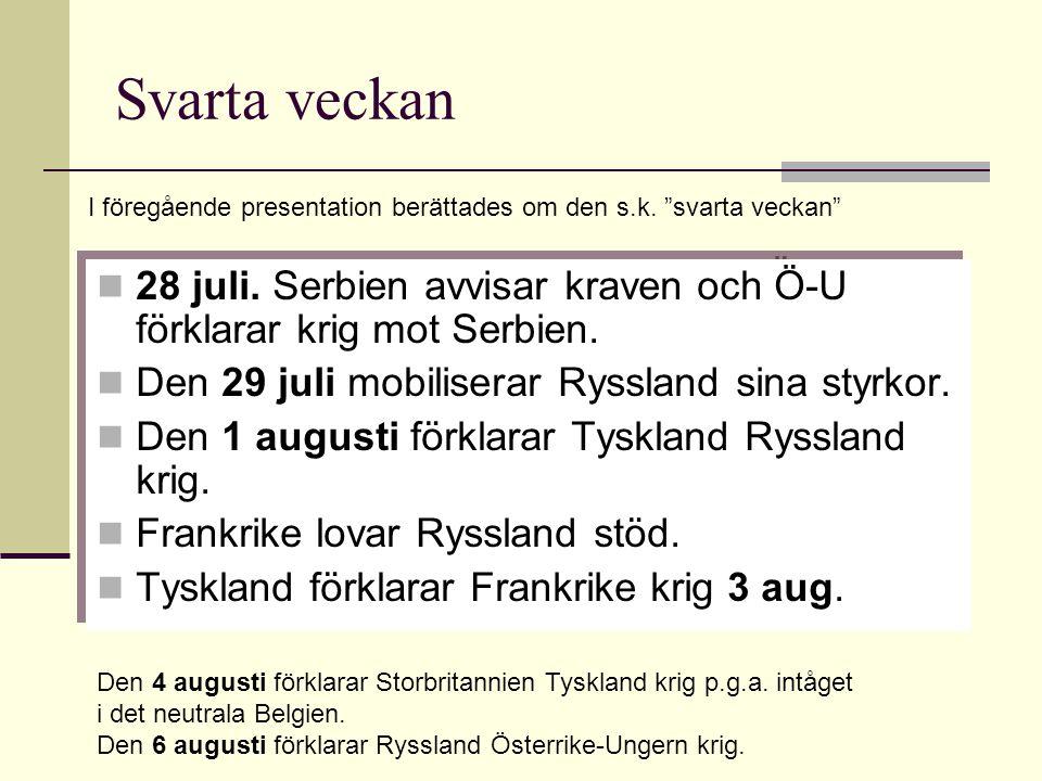 Svarta veckan 28 juli. Serbien avvisar kraven och Ö-U förklarar krig mot Serbien. Den 29 juli mobiliserar Ryssland sina styrkor. Den 1 augusti förklar