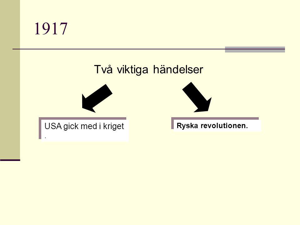 1917 Två viktiga händelser USA gick med i kriget. Ryska revolutionen.