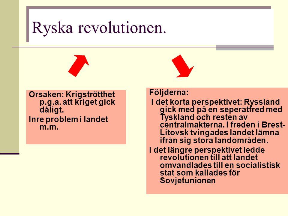 Orsaken: Krigströtthet p.g.a. att kriget gick dåligt. Inre problem i landet m.m. Ryska revolutionen. Följderna: I det korta perspektivet: Ryssland gic