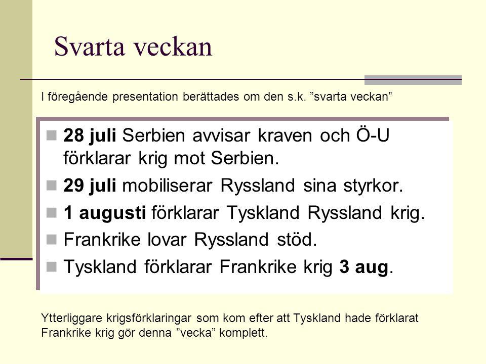 Svarta veckan 28 juli Serbien avvisar kraven och Ö-U förklarar krig mot Serbien. 29 juli mobiliserar Ryssland sina styrkor. 1 augusti förklarar Tyskla