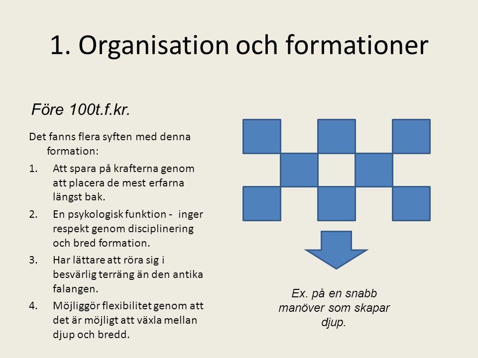 1. Organisation och formationer Det fanns flera syften med denna formation: 1.Att spara på krafterna genom att placera de mest erfarna längst bak. 2.E