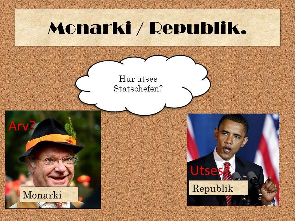 Monarki / Republik. Hur utses Statschefen? Arv? Utses? Monarki Republik