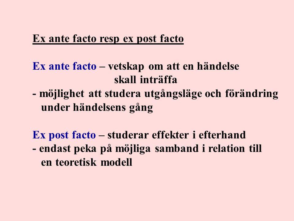 Ex ante facto resp ex post facto Ex ante facto – vetskap om att en händelse skall inträffa - möjlighet att studera utgångsläge och förändring under hä
