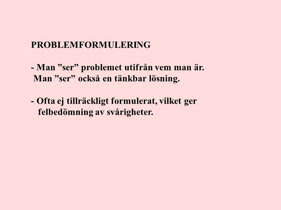 """PROBLEMFORMULERING - Man """"ser"""" problemet utifrån vem man är. Man """"ser"""" också en tänkbar lösning. - Ofta ej tillräckligt formulerat, vilket ger felbedö"""