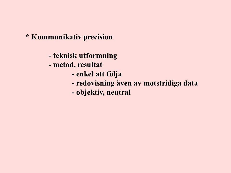 * Kommunikativ precision - teknisk utformning - metod, resultat - enkel att följa - redovisning även av motstridiga data - objektiv, neutral