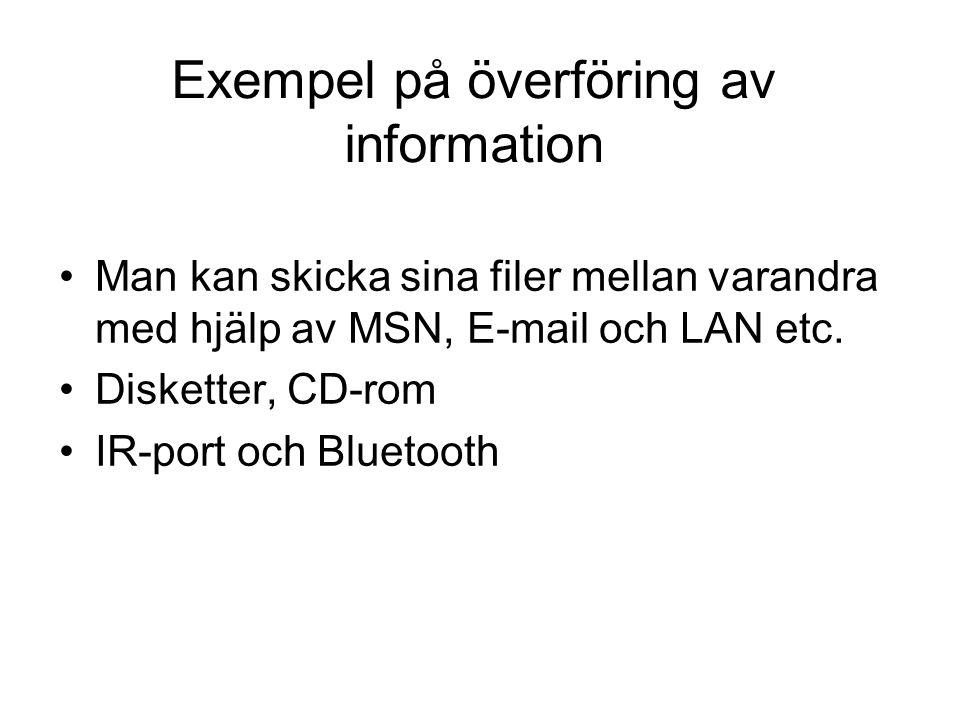 Exempel på överföring av information Man kan skicka sina filer mellan varandra med hjälp av MSN, E-mail och LAN etc. Disketter, CD-rom IR-port och Blu