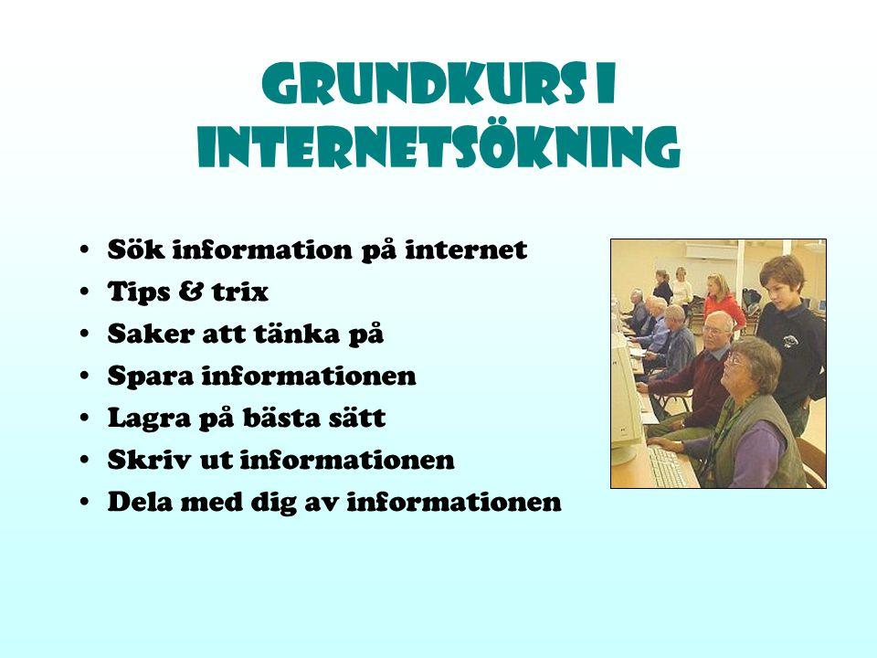 Grundkurs i Internetsökning Sök information på internet Tips & trix Saker att tänka på Spara informationen Lagra på bästa sätt Skriv ut informationen