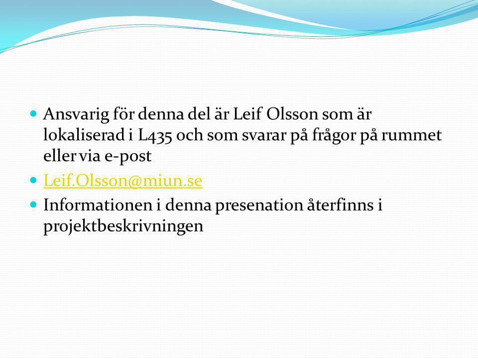 Ansvarig för denna del är Leif Olsson som är lokaliserad i L435 och som svarar på frågor på rummet eller via e-post Leif.Olsson@miun.se Informationen