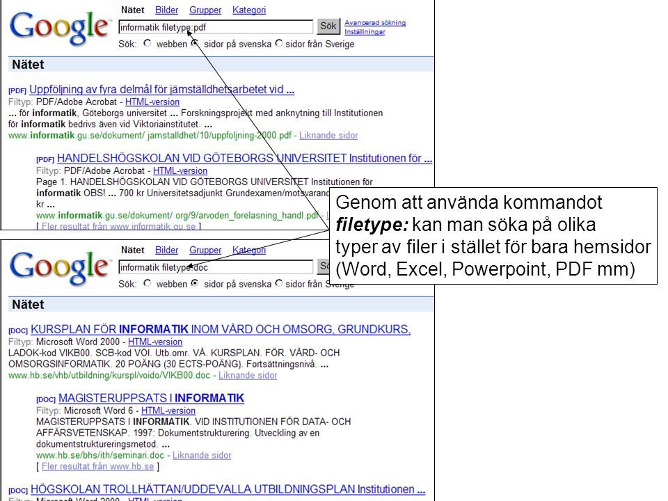 Genom att använda kommandot filetype: kan man söka på olika typer av filer i stället för bara hemsidor (Word, Excel, Powerpoint, PDF mm)