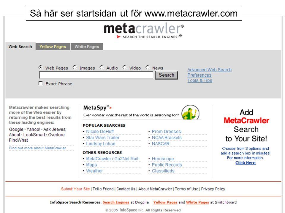 Så här ser startsidan ut för www.metacrawler.com