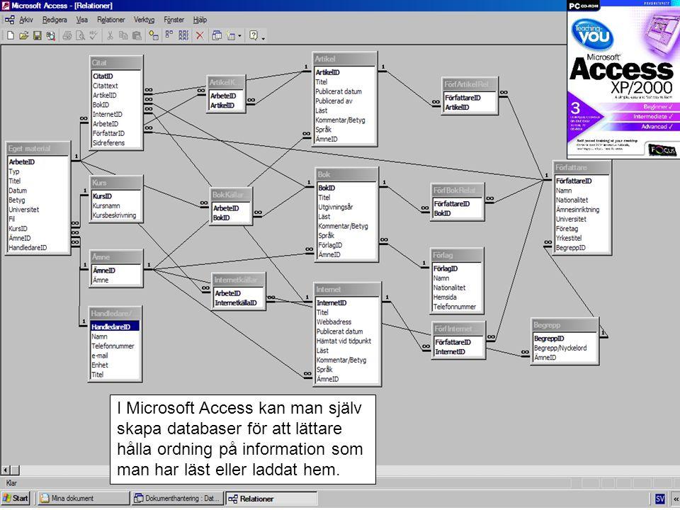 I Microsoft Access kan man själv skapa databaser för att lättare hålla ordning på information som man har läst eller laddat hem.