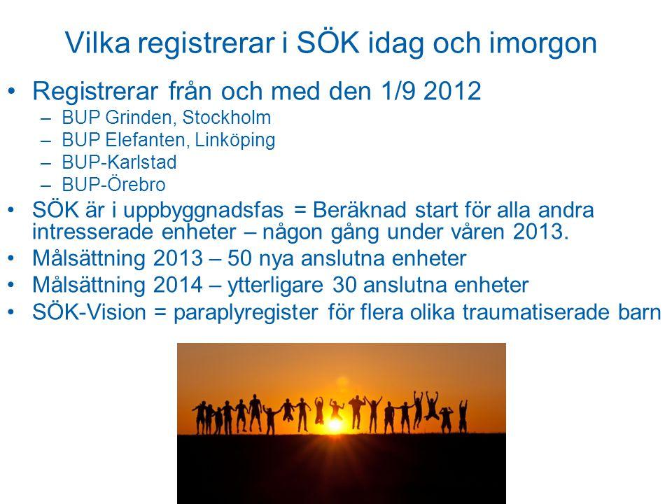 Vilka registrerar i SÖK idag och imorgon Registrerar från och med den 1/9 2012 –BUP Grinden, Stockholm –BUP Elefanten, Linköping –BUP-Karlstad –BUP-Örebro SÖK är i uppbyggnadsfas = Beräknad start för alla andra intresserade enheter – någon gång under våren 2013.