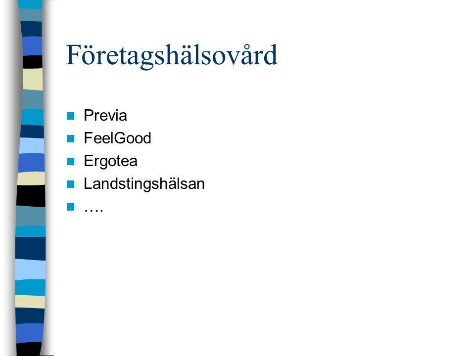 Företagshälsovård Previa FeelGood Ergotea Landstingshälsan ….