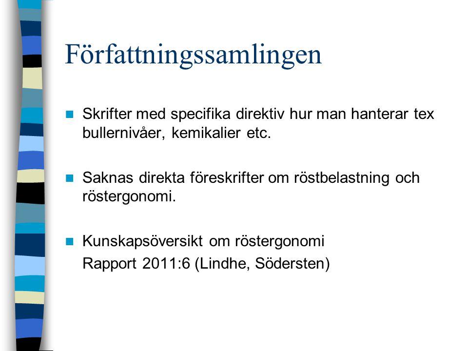 Hitta mer information Arbetsmiljöverket www.av.sewww.av.se Arbetsmiljölagen AFS 1994:1 arbetsanpassning och rehabilitering AFS 2001:1 systematiskt arbetsmiljöarbete Broschyrer som grundar sig på AFS.