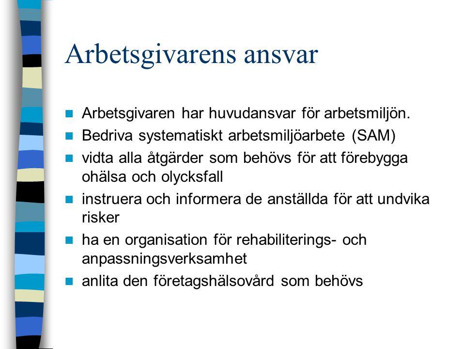 Arbetsgivarens ansvar Arbetsgivaren har huvudansvar för arbetsmiljön.