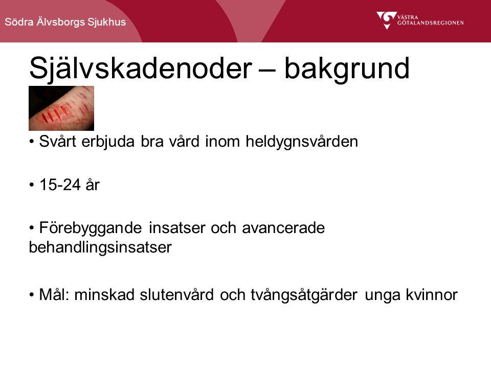 Södra Älvsborgs Sjukhus Självskadenoder – bakgrund Svårt erbjuda bra vård inom heldygnsvården 15-24 år Förebyggande insatser och avancerade behandlingsinsatser Mål: minskad slutenvård och tvångsåtgärder unga kvinnor