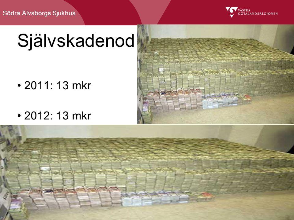 Södra Älvsborgs Sjukhus Självskadenod 2011: 13 mkr 2012: 13 mkr