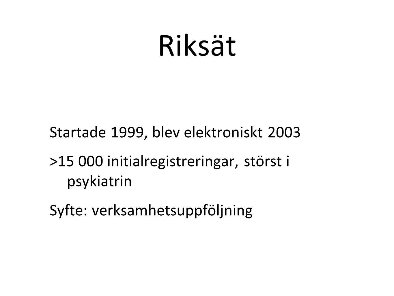 Riksät Startade 1999, blev elektroniskt 2003 >15 000 initialregistreringar, störst i psykiatrin Syfte: verksamhetsuppföljning