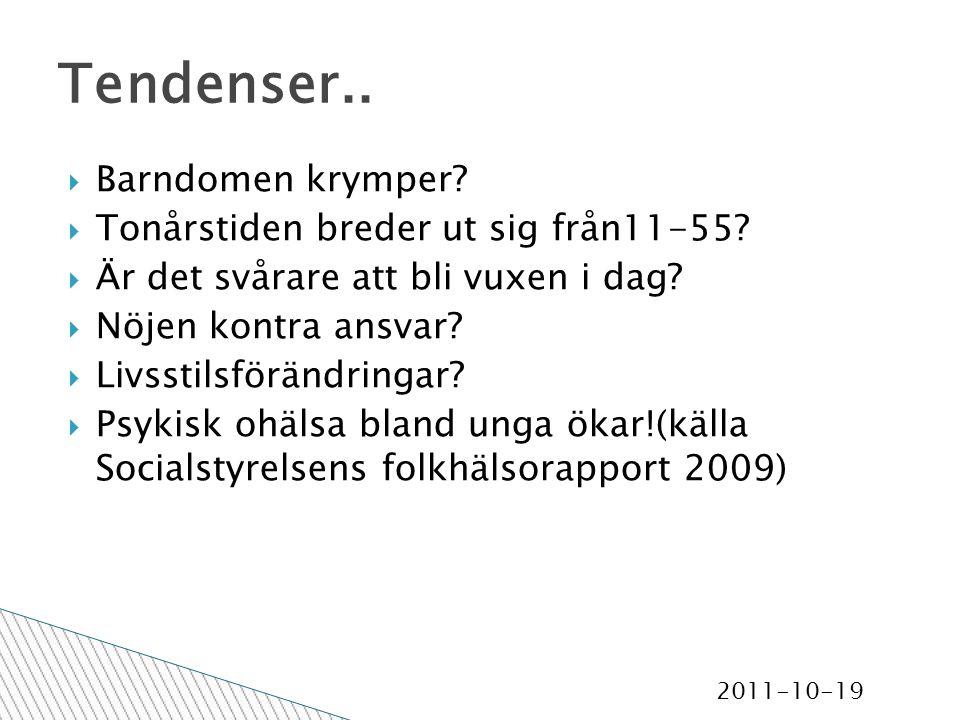 2011-10-19 Tendenser..  Barndomen krymper.  Tonårstiden breder ut sig från11-55.