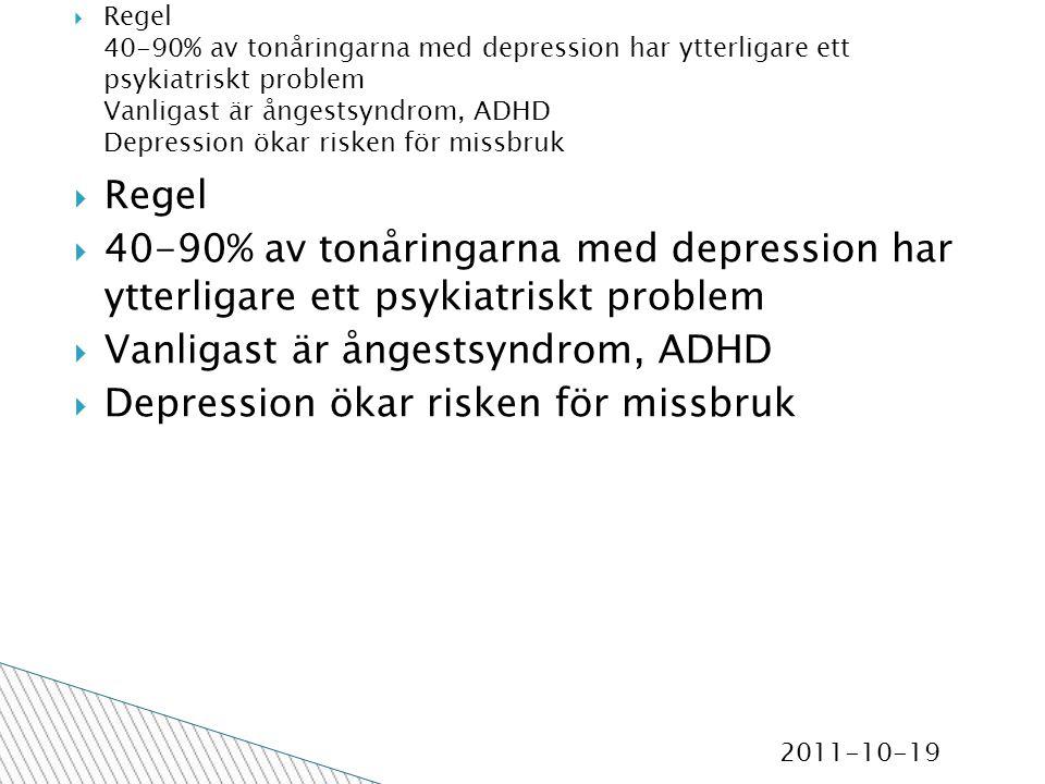 2011-10-19  Regel  40-90% av tonåringarna med depression har ytterligare ett psykiatriskt problem  Vanligast är ångestsyndrom, ADHD  Depression ökar risken för missbruk  Regel 40-90% av tonåringarna med depression har ytterligare ett psykiatriskt problem Vanligast är ångestsyndrom, ADHD Depression ökar risken för missbruk