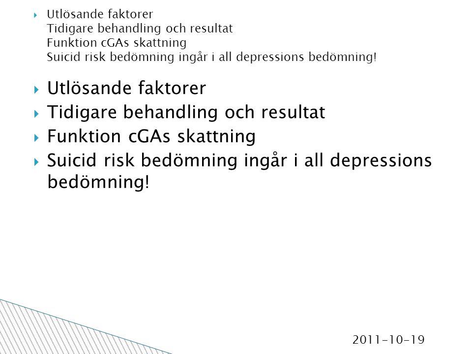 2011-10-19  Utlösande faktorer  Tidigare behandling och resultat  Funktion cGAs skattning  Suicid risk bedömning ingår i all depressions bedömning.