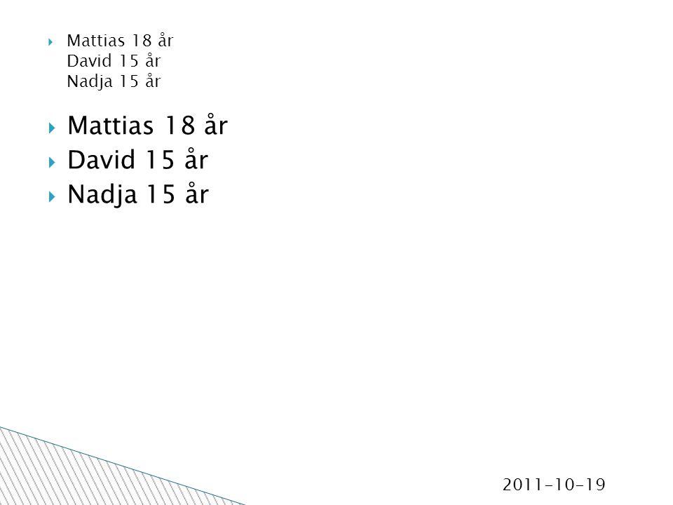 2011-10-19  Mattias 18 år  David 15 år  Nadja 15 år  Mattias 18 år David 15 år Nadja 15 år