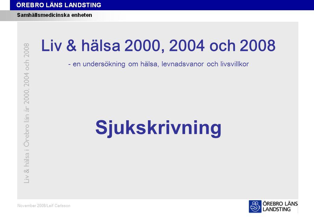 Kapitel 12 November 2008/Leif Carlsson Sjukskrivning Liv & hälsa i Örebro län år 2000, 2004 och 2008 Liv & hälsa 2008 Liv & hälsa 2000, 2004 och 2008 - en undersökning om hälsa, levnadsvanor och livsvillkor