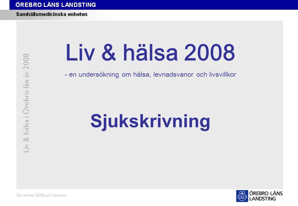 Fråga 142, ålder och kön Liv & hälsa i Örebro län år 2008 Fråga 142 Oktober 2008/Leif Carlsson Procent Andel som inte varit sjukskriven någon gång de senaste 12 månaderna