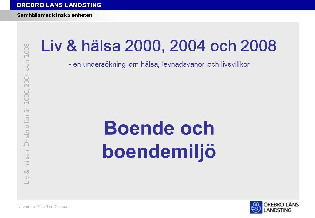Kapitel 10 November 2008/Leif Carlsson Boende och boendemiljö Liv & hälsa i Örebro län år 2000, 2004 och 2008 Liv & hälsa 2008 Liv & hälsa 2000, 2004 och 2008 - en undersökning om hälsa, levnadsvanor och livsvillkor