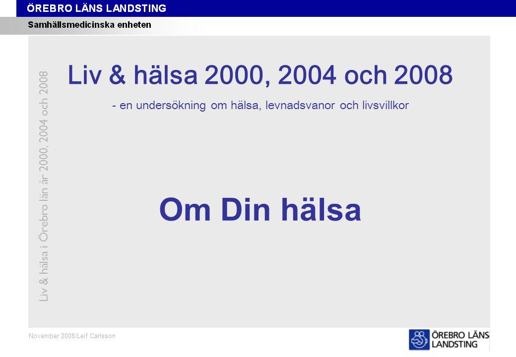 Fråga 1, ålder och kön Liv & hälsa i Örebro län år 2000, 2004 och 2008 Fråga 1 Oktober 2008/Leif Carlsson Procent Andel som bedömer sin hälsa som Mycket bra eller Bra Åldersstandardiserade data.