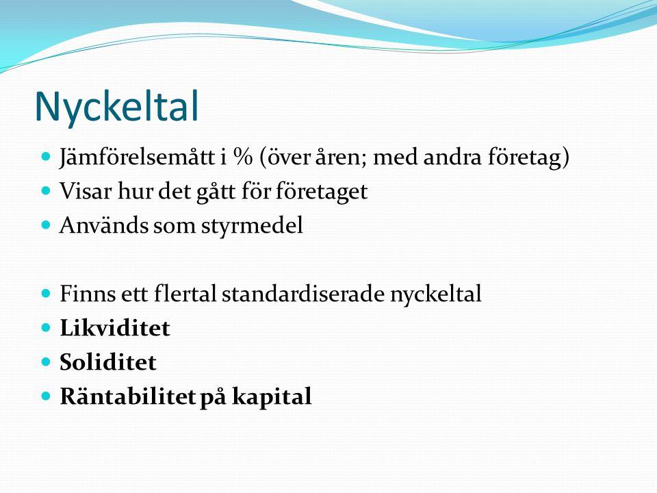 Nyckeltal Jämförelsemått i % (över åren; med andra företag) Visar hur det gått för företaget Används som styrmedel Finns ett flertal standardiserade n