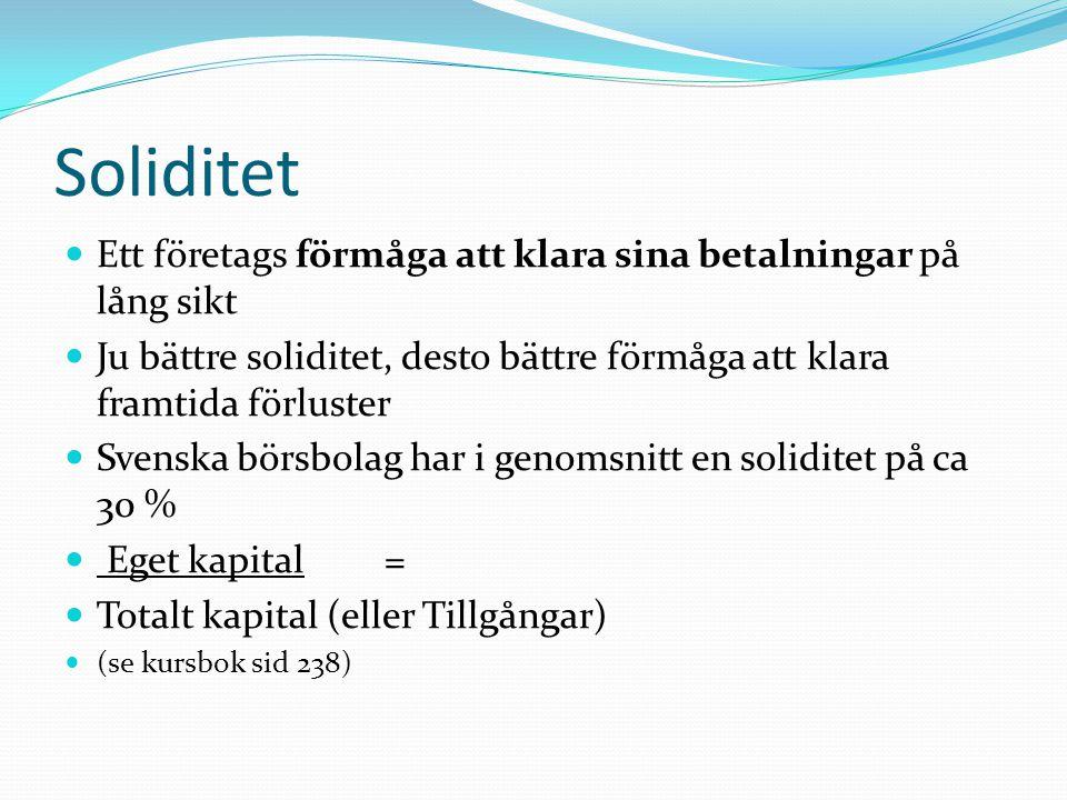 Soliditet Ett företags förmåga att klara sina betalningar på lång sikt Ju bättre soliditet, desto bättre förmåga att klara framtida förluster Svenska