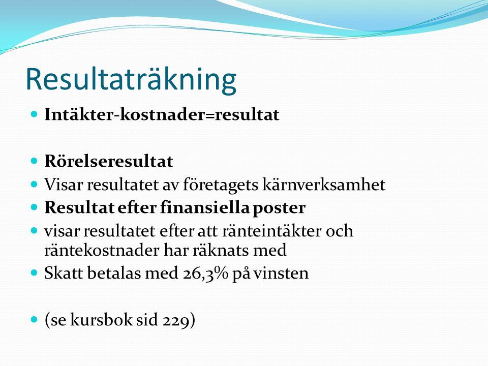 Balansräkning Tillgångar = Eget kapital & Skulder Anläggningstillgångar presenteras först Omsättningstillgångar sedan Eget kapital presenteras först Skulder sedan (de med längst löptid först) (se kursbok sid 231)