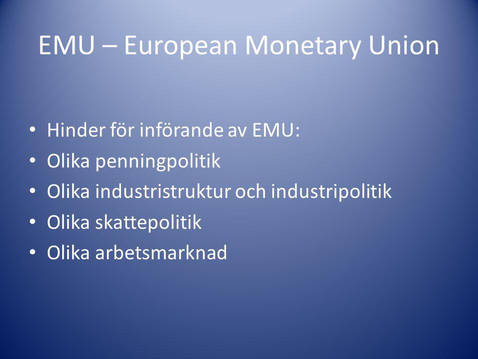 EMU – European Monetary Union Hinder för införande av EMU: Olika penningpolitik Olika industristruktur och industripolitik Olika skattepolitik Olika arbetsmarknad