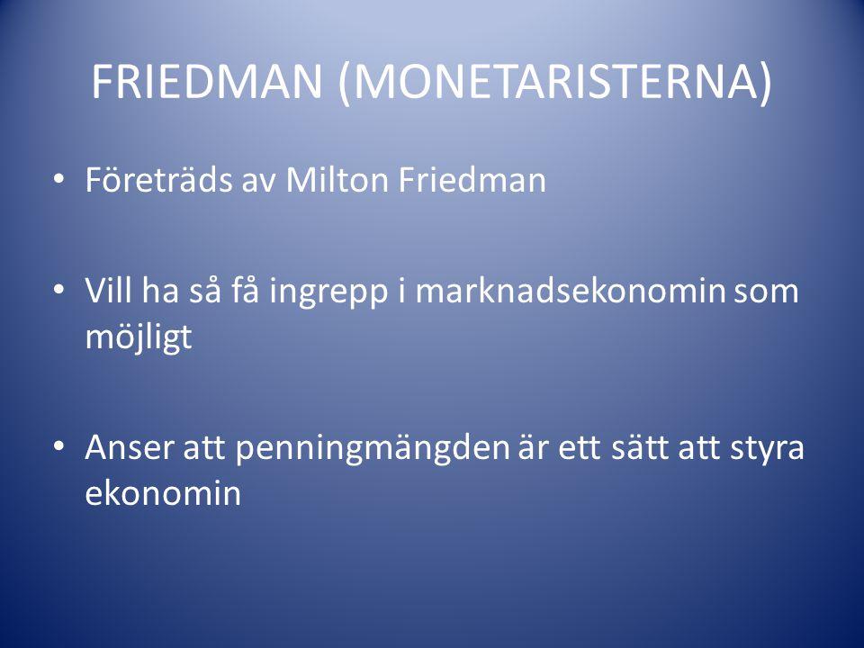 FRIEDMAN (MONETARISTERNA) Företräds av Milton Friedman Vill ha så få ingrepp i marknadsekonomin som möjligt Anser att penningmängden är ett sätt att s