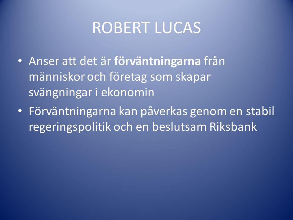 ROBERT LUCAS Anser att det är förväntningarna från människor och företag som skapar svängningar i ekonomin Förväntningarna kan påverkas genom en stabi