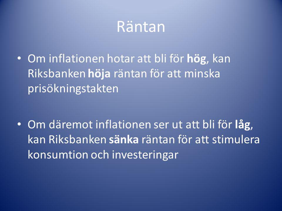 Räntan Om inflationen hotar att bli för hög, kan Riksbanken höja räntan för att minska prisökningstakten Om däremot inflationen ser ut att bli för låg